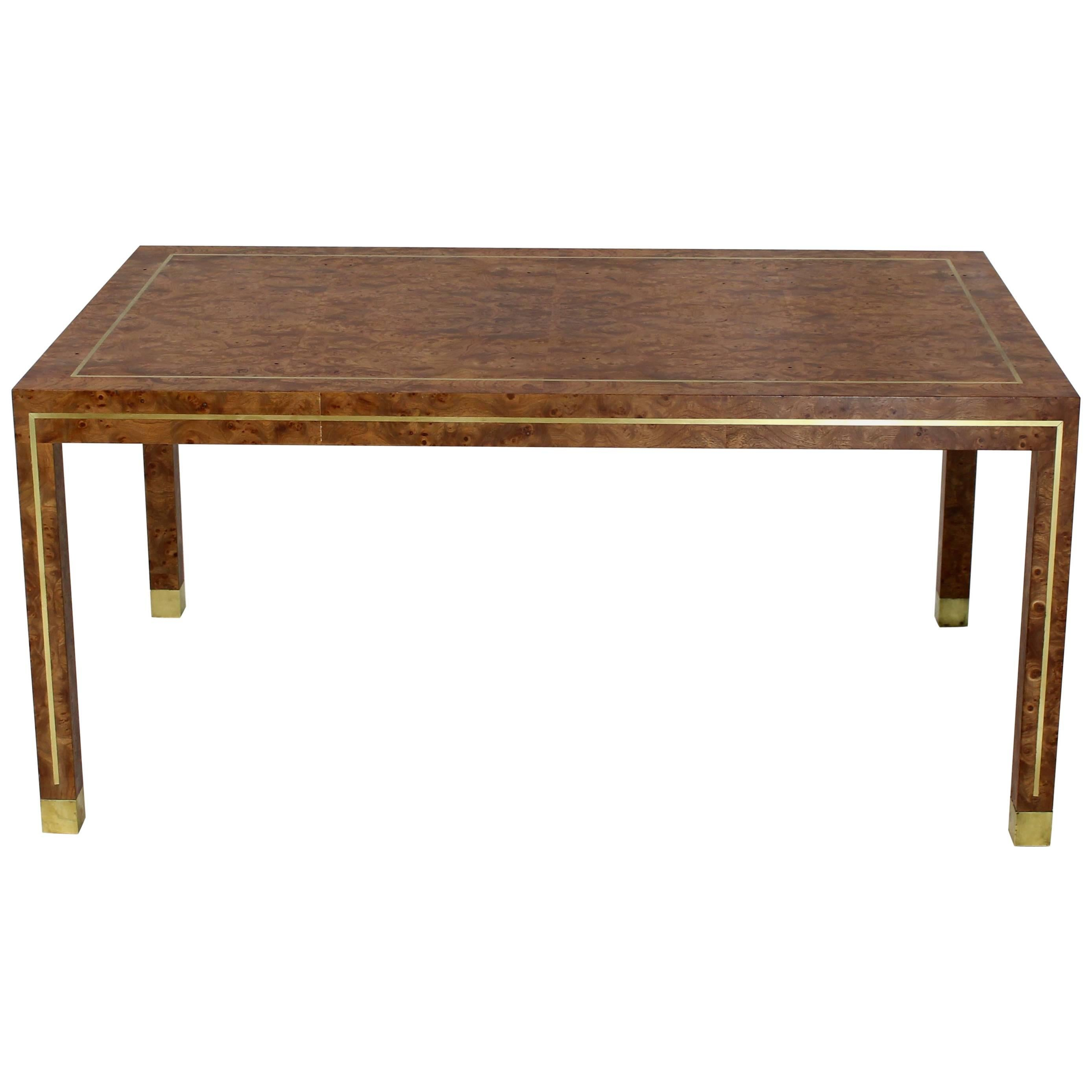 Brass Inlay Burl Wood Large Rectangular Coffee Table