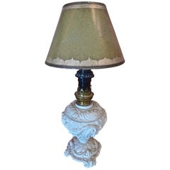 French 1920s Painted Metal Table Lamp with Wax Shade