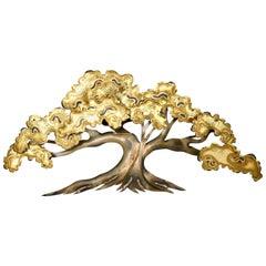 "Mid-Century C. Jere Brutalist Style Brass & Copper ""Tree"" Wall Mount Sculpture"