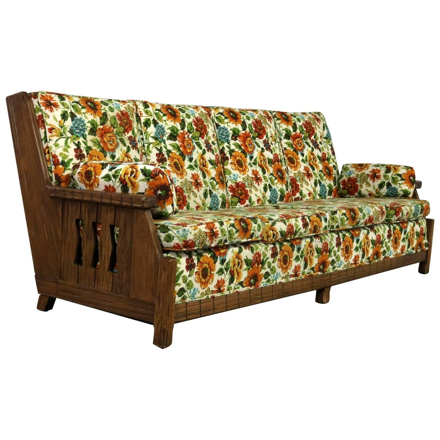 Charmant Ranch Oak Western Style Sofa Attributed To A. Brandt Company
