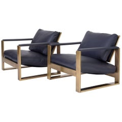 Pair of Bronze Frame Lounge Chairs by Milo Baughman