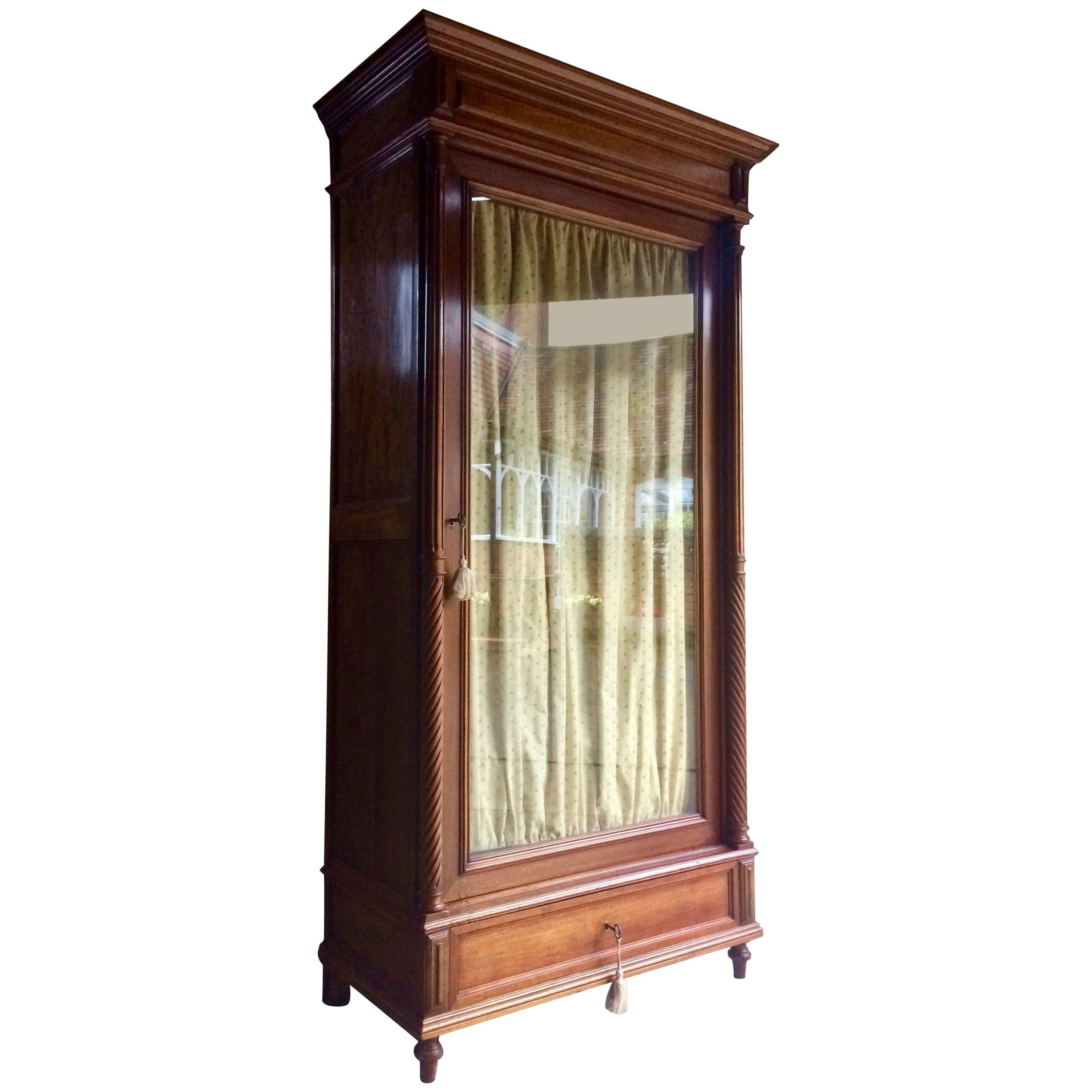 Stunning French Armoire Wardrobe Mahogany Glass Fronted Antique, 19th  Century