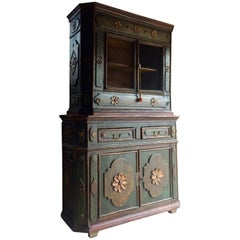 Stunning Antique Cupboard Cabinet French Painted Provincial, 19th Century