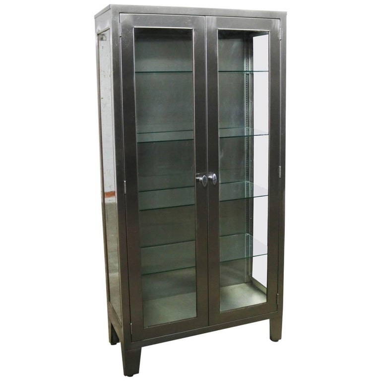 Vintage Stainless Steel Display Apothecary Medical Cabinet Gl Door For