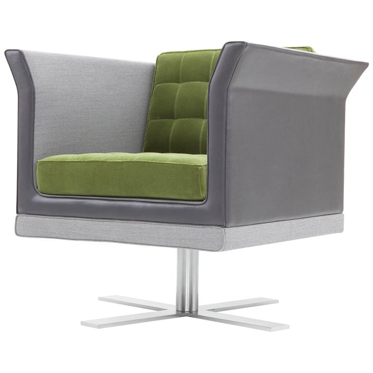 Tiffany Armchair in Gray and Green by Luca Scacchetti