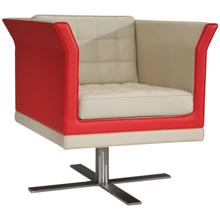 Tiffany Armchair in Ivory and Red by Luca Scacchetti