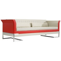 Tiffany Sofa in Ivory & Red by Luca Scacchetti