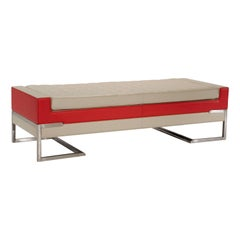 Tiffany Bench in Ivory and Red by Luca Scacchetti