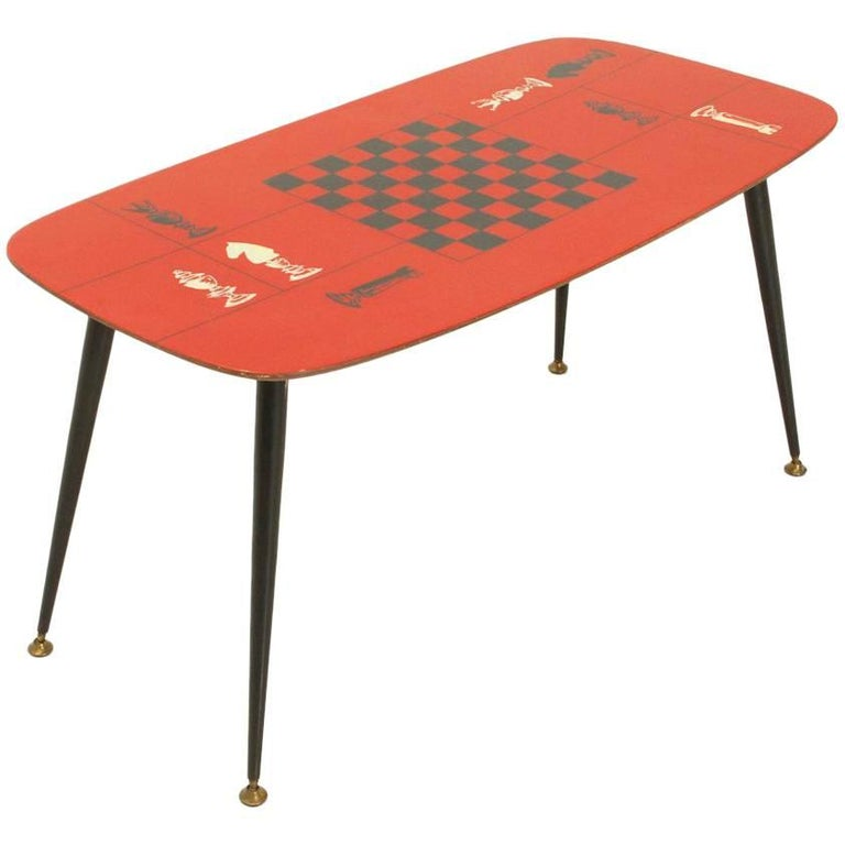 Italian Red Laminate Top Coffee Table, 1950s