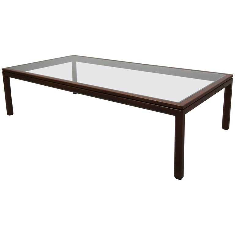 Midcentury Walnut and Glass Coffee Table by Edward Wormley for Dunbar
