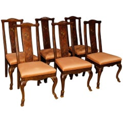 Six French Chairs in Lacquered and Gilt Chinoiserie Wood from 20th Century