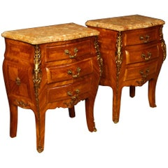 Pair of French Bedside Tables in Rosewood with Marble Top and Gilt Bronzes