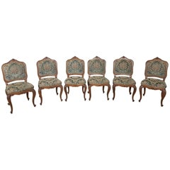 20th Century Italian Louis XV Rococò Style Walnut Carved Six Chairs