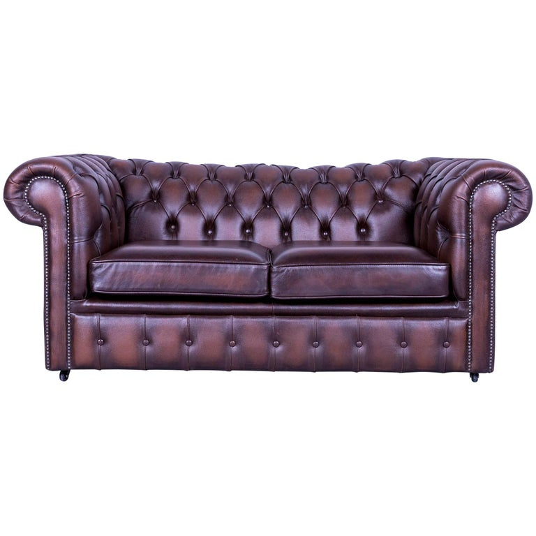 Chesterfield Two-Seat Sofa Brown Leather Couch Vintage Retro Rivets