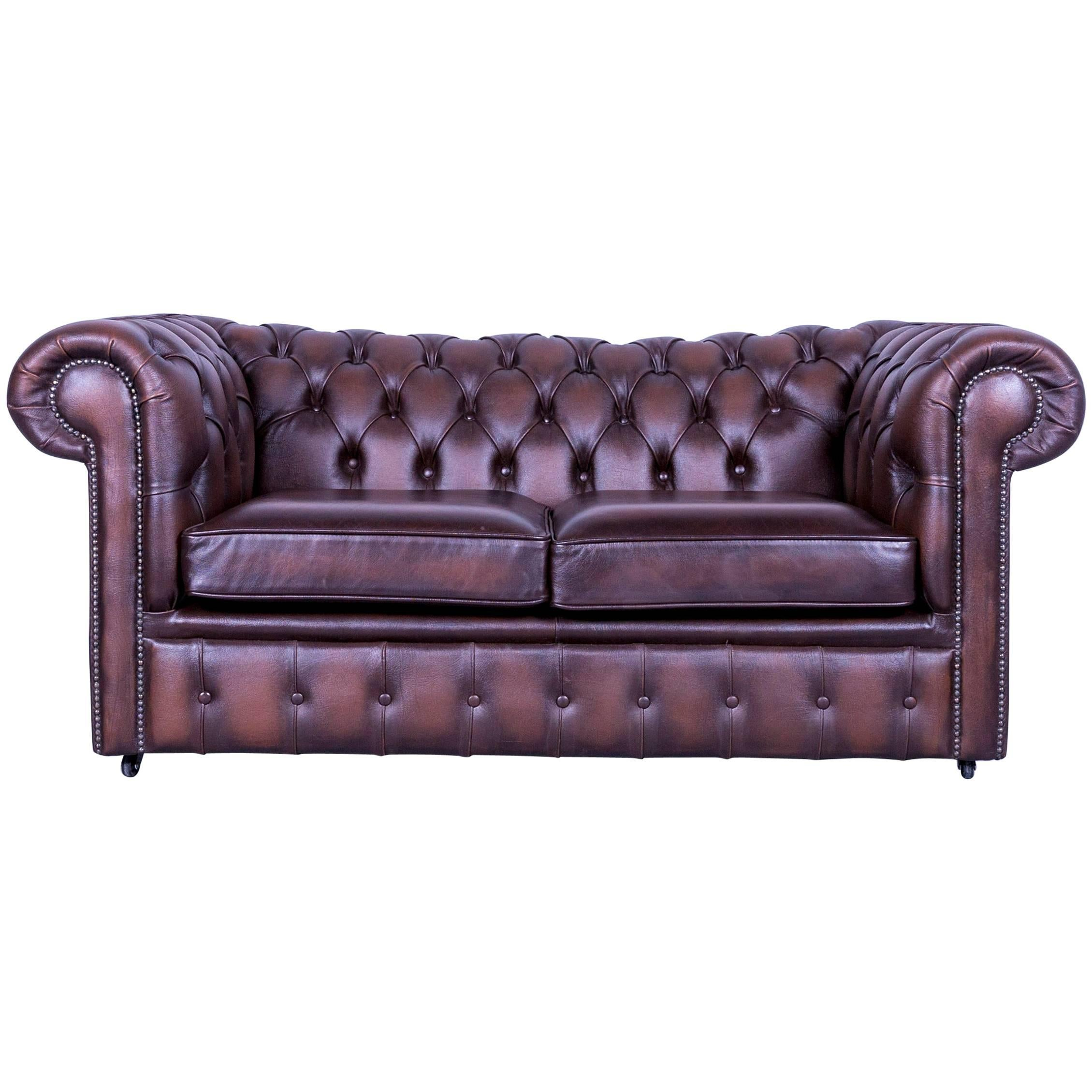 Chesterfield Two Seat Sofa Brown Leather Couch Vintage Retro Rivets For Sale