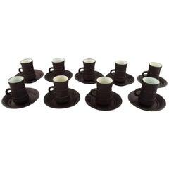 Jens H. Quistgaard, Flamestone, Nine Coffee / Mocha Cups with Saucers
