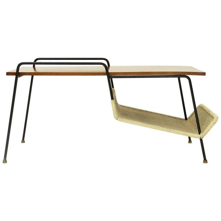 Bent Lucite Coffee Table On Wheels With Magazine Shelf
