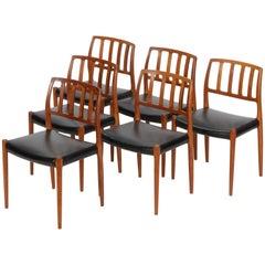 Six Niels Møller Chairs Model 83 J.L. Møllers Møbelfabrik, 1970s
