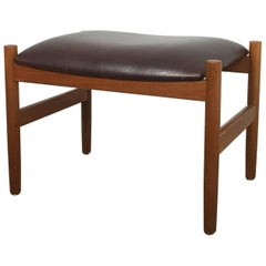 Original Danish Modern 1960s Teak Stool by Spottrup, Denmark with Original Cover