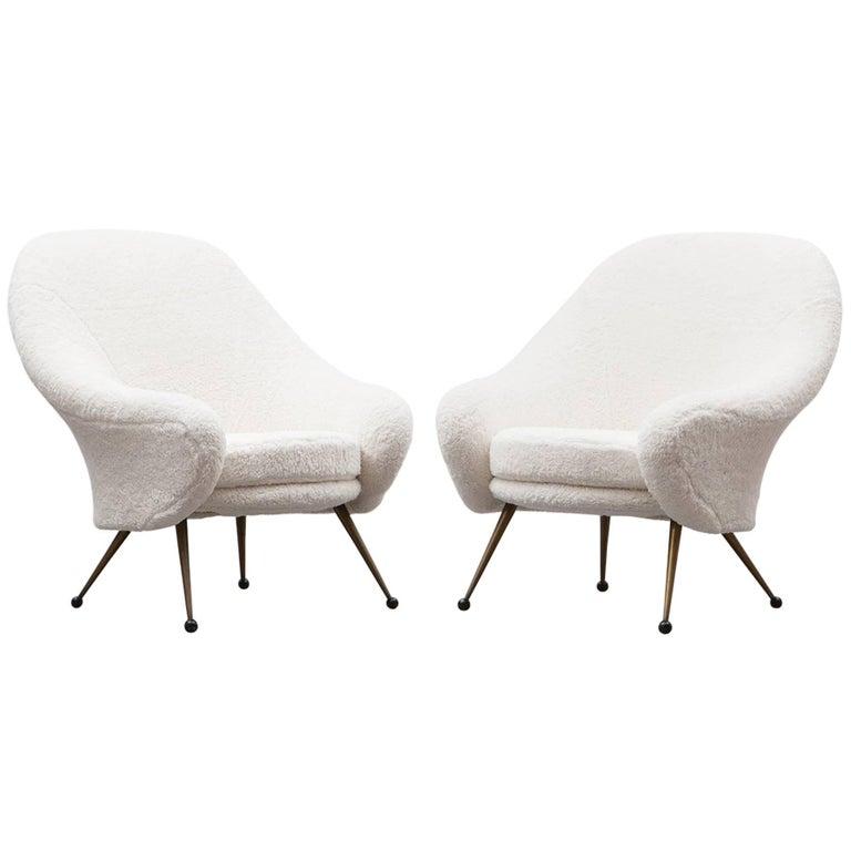1950s White Faux Fur, Brass Legs Lounge Chairs by Marco Zanuso