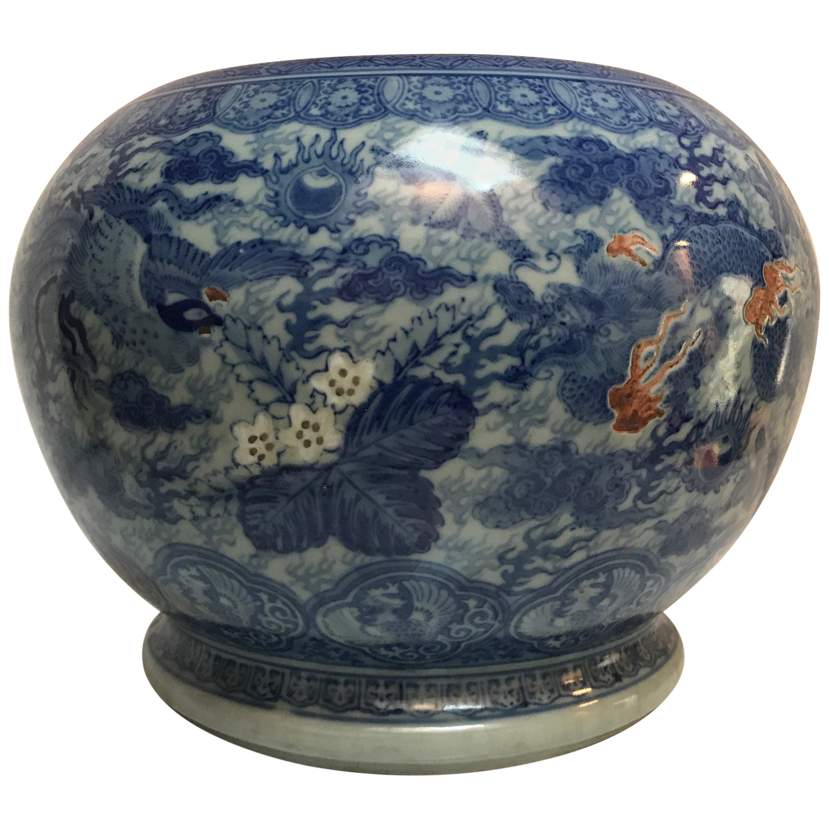 Japanese Blue and White Ceramic Fishbowl Planter Jardinière Cachepot