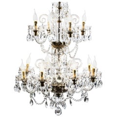 Vintage Venetian Two-Tier 12-Light Crystal Chandelier