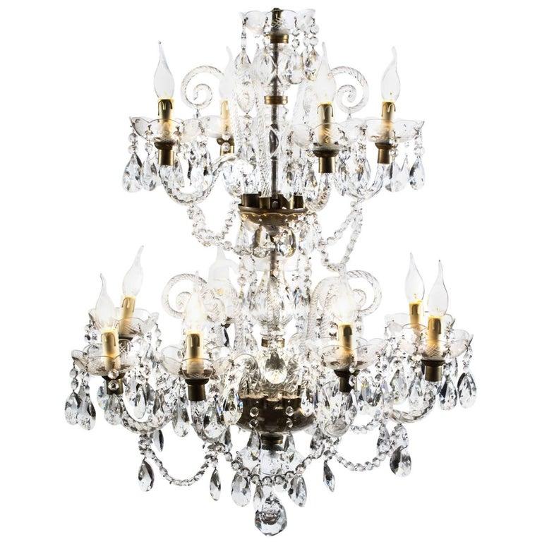 Vintage Venetian Two-Tier 12-Light Crystal Chandelier For Sale