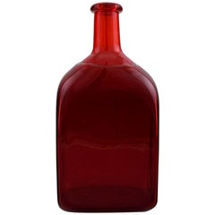 Riihimaki Riihimaen, Finland, Decanter/Bottle of Red Art Glass, 1960s