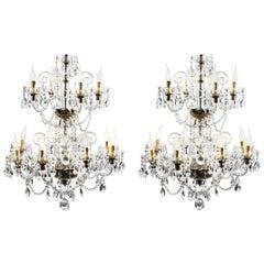 Pair of Vintage Venetian Twelve-Light Crystal Chandeliers, 20th Century