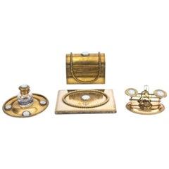 Antique Brass and Jasperware Desk Set James Howell, 19th Century