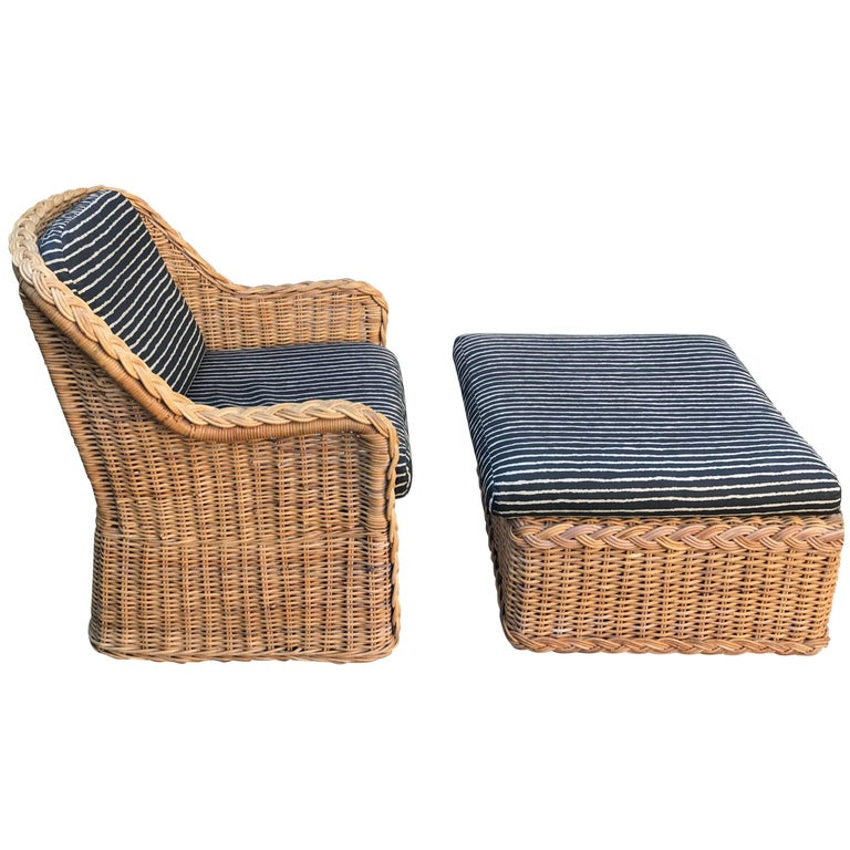 Italian Wicker Rattan Lounge Chair and Ottoman
