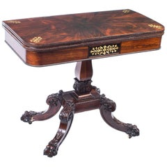 Antique Regency Rosewood Brass Inlaid Card Table, 19th Century
