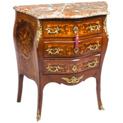 Antique French Louis XV Commode Rouge Marble, 19th Century