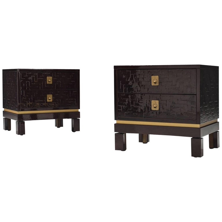 Two Textured Nightstands with Laquered Surface