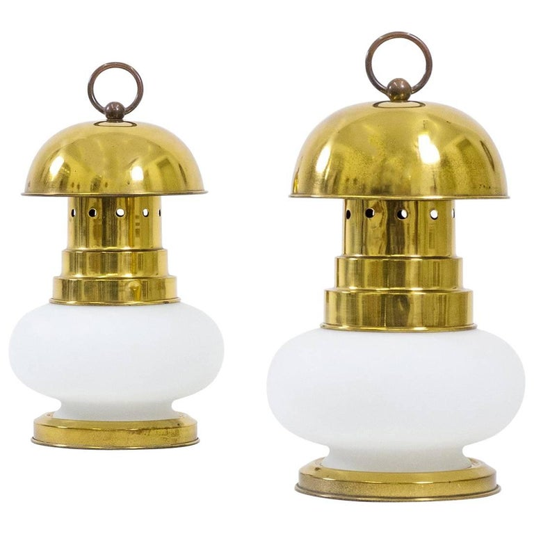Italian Brass and Satin Glass Lantern Table Lamps, 1950s