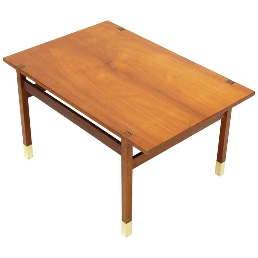 Teak Coffee Table With Brass Feet, 1960s For Sale