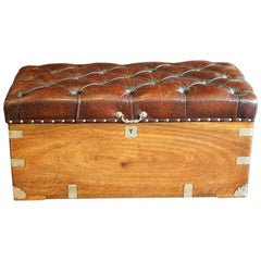 Victorian Camphorwood and Leather Ottoman