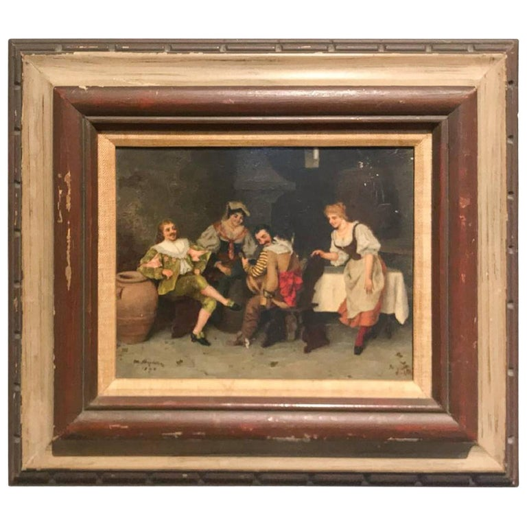 Antique Spanish Oil on Panel Painting, 1896