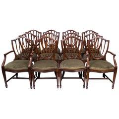 Fabulous Set of 12 English Hepplewhite Style Dining Chairs