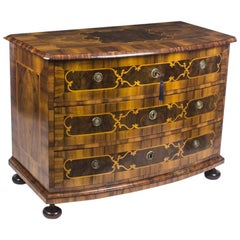 Antique South German Baroque Walnut Bowfront Commode Chest, 18th Century
