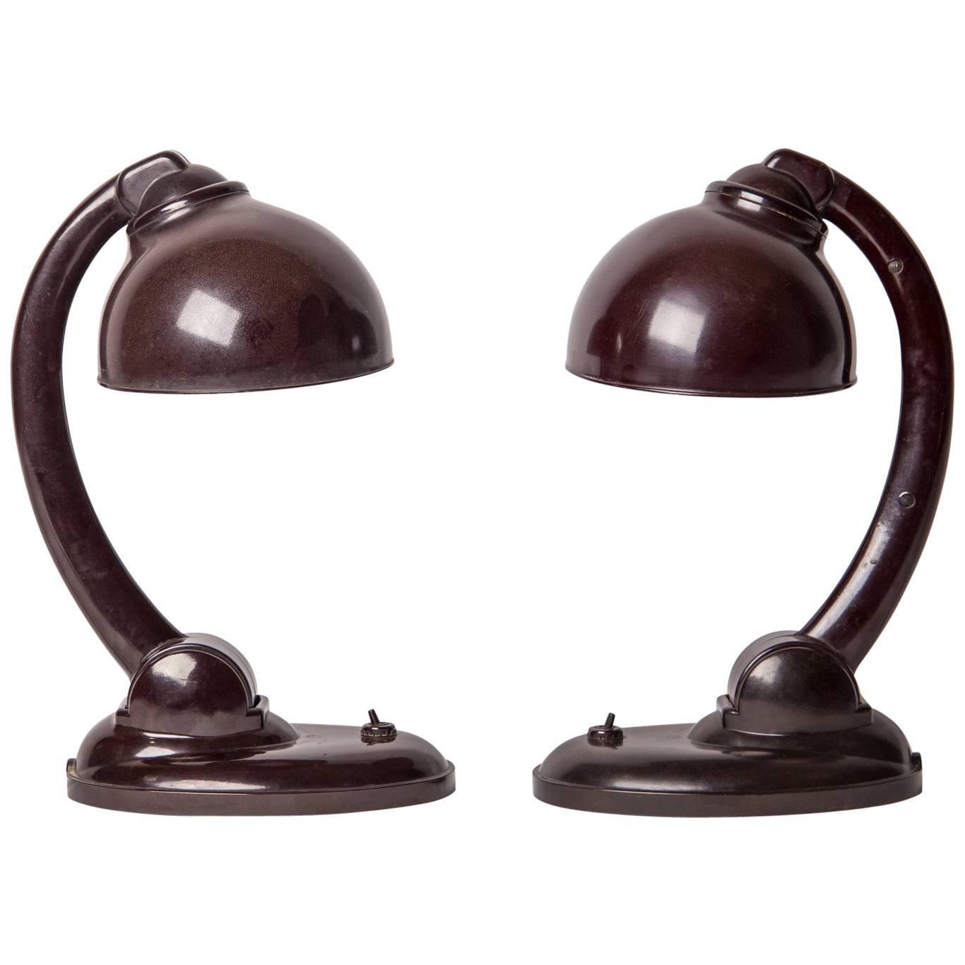 Pair Of 1126 Bakelite Art Deco Table Lamps By Eric Kirkland, Circa 1930