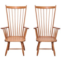Pair of Low Arno Lambrecht Highback Windsor Lounge Chairs