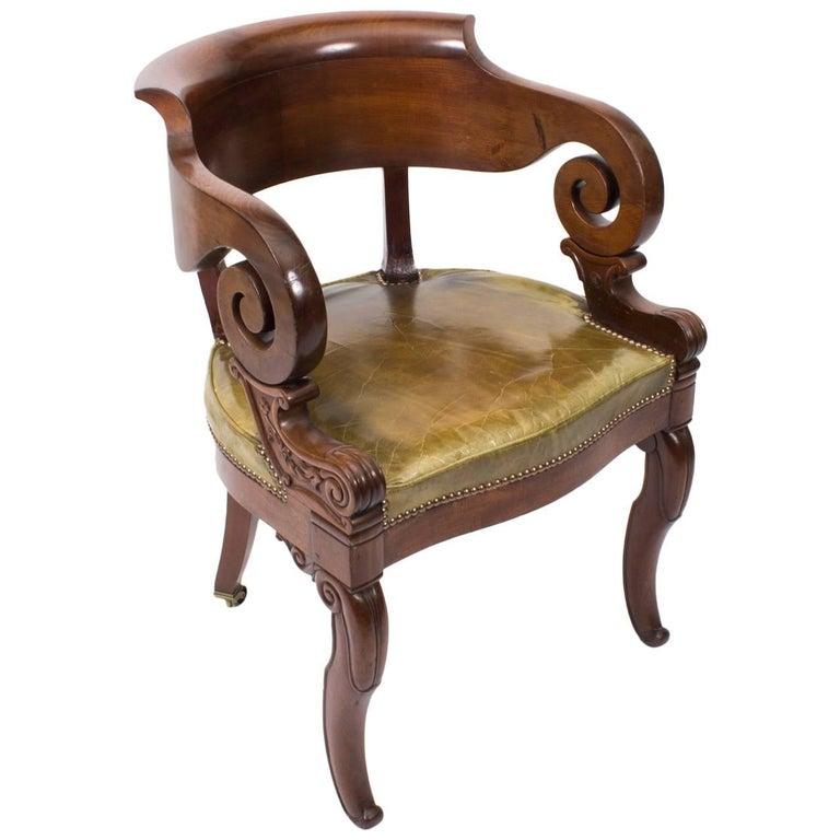 Antique Empire Mahogany Armchair Desk Chair, 19th Century