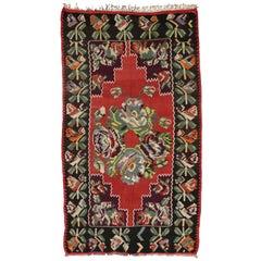 Vintage Rose Turkish Kilim Rug, Flat-Weave Rose Kilim Rug