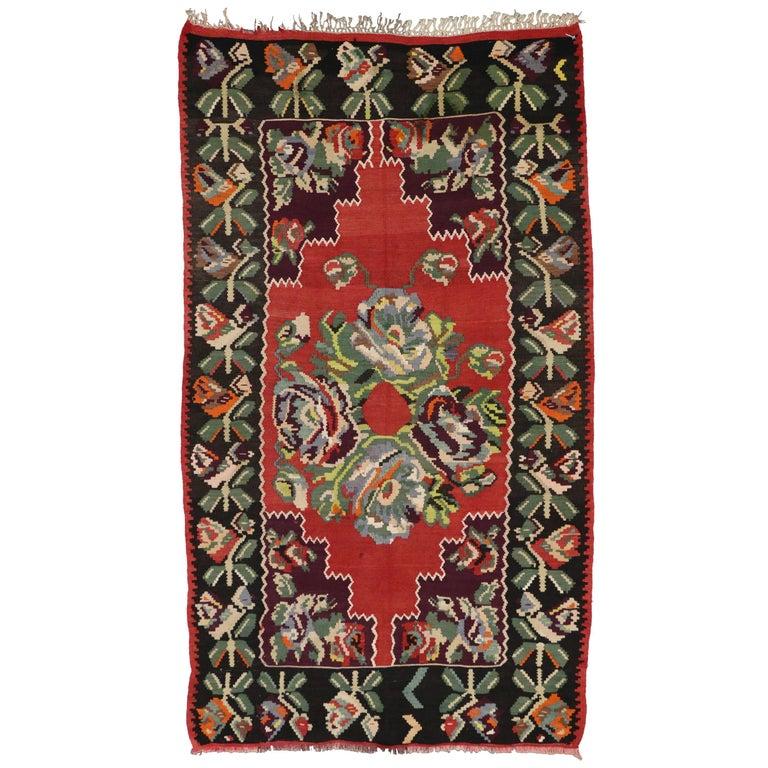 Vintage Turkish Flat Weave Rug: Vintage Floral Turkish Kilim Rug, Flat-Weave Rose Kilim