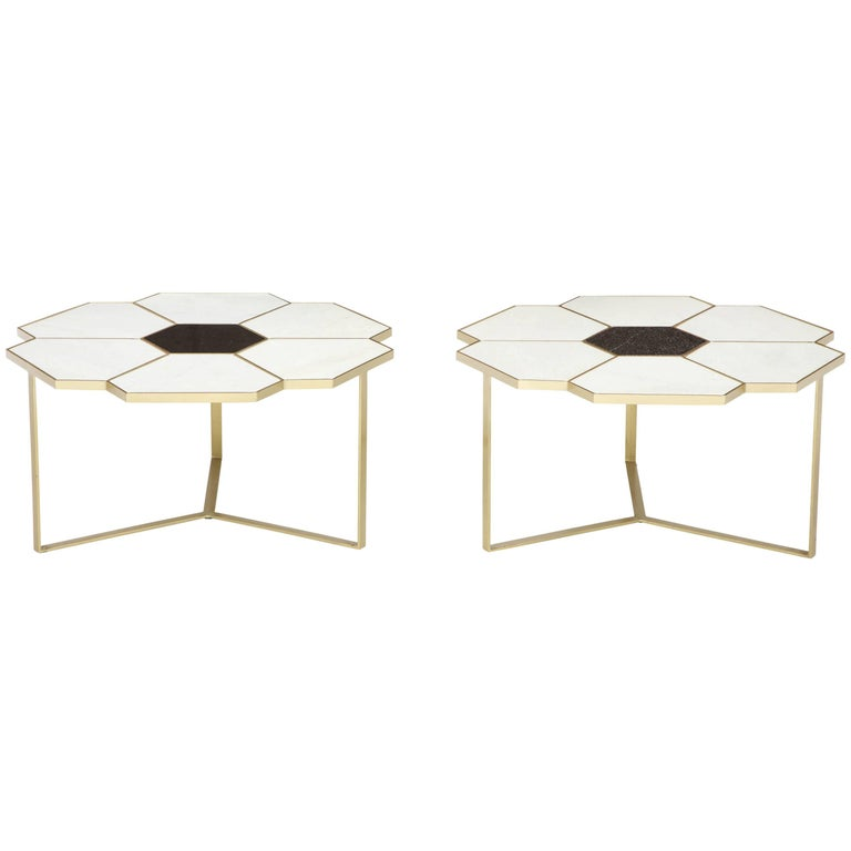 "Pair of Unique ""Flower"" Top Marble Coffee Tables"
