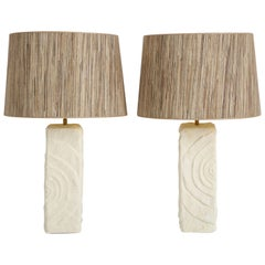 Pair of French White Ceramic Lamps in Madrepore Style