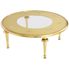 Carved Giltwood and Églomisé Top Coffee Table Attributed to Gio Ponti