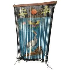 "Japanese Fine Antique Glass Beads ""Peace"" Curtain Noren Meiji Period, 1910"