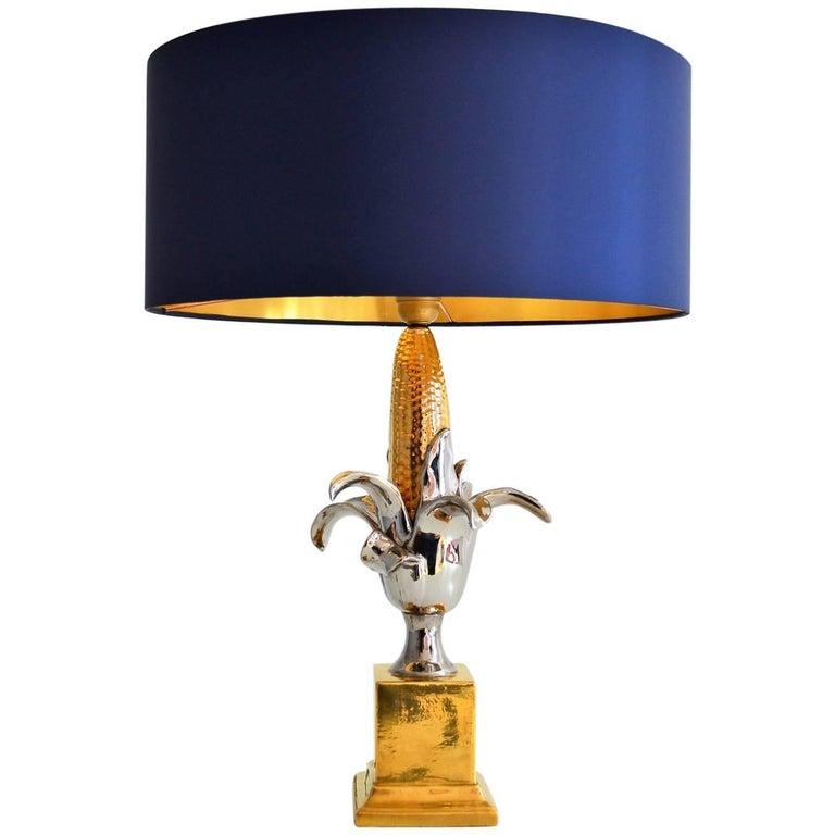 Regency French Ceramic Corn Lamp, 1970s
